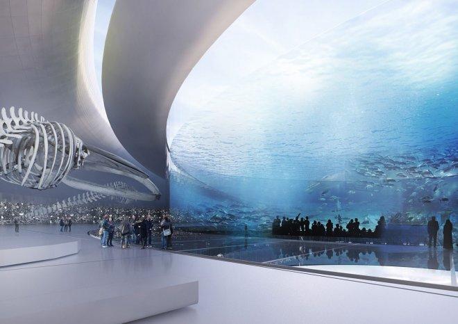 Фото. Просторные залы в подводном городе
