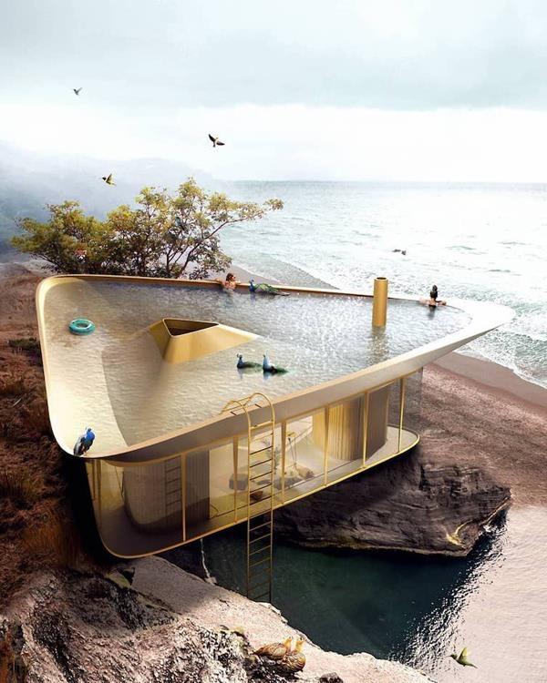 треугольный дом с бассейном