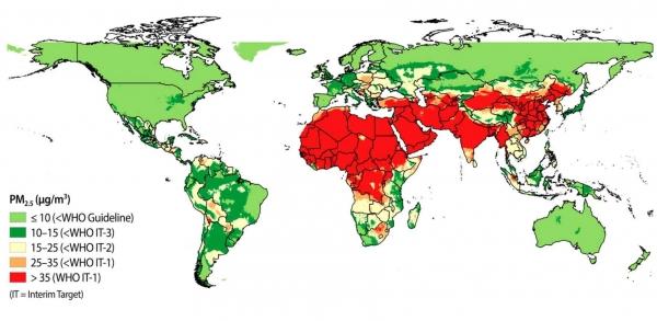 Фото. Карта загрязненного воздуха во всем мире