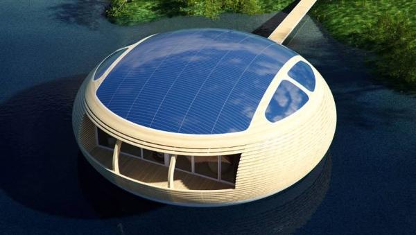 Фото. Вид сверху, хорошо видны фотоэлектрические панели на крыше