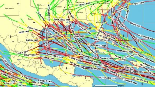Фото. Карта ураганов в Мексиканском заливе за 100 лет