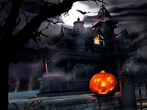 Фото. Зажженная свеча в тыкве на праздник Хеллоуин