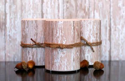 Фото. Красивые свечи из березовой коры