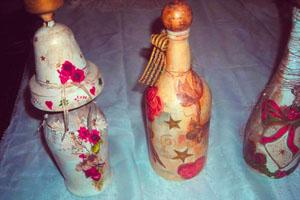 Фото. Декупаж бутылки