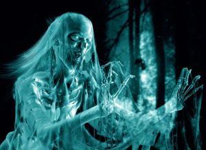 Фото. Скелет-призрак идет в темноте