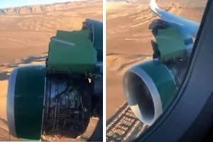 слетела обшивка двигателя самолета