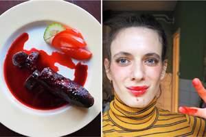 веган с колбасой с кровью
