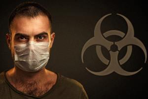 коронавирус и мужчина в маске